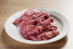 Raw fresh sliced beef for beefsteaks in plate on kitchen table Royalty Free Stock Image