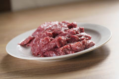 Raw fresh sliced beef for beefsteaks in plate on kitchen table Stock Images
