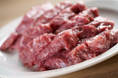 Raw fresh sliced beef for beefsteaks in plate on kitchen table Royalty Free Stock Photos