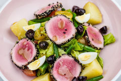 Raw and fresh tuna meat with sesame and fresh vegetable salad Stock Image