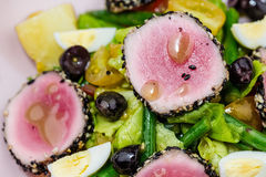 Raw and fresh tuna meat with sesame and fresh vegetable salad Royalty Free Stock Image
