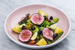 Raw and fresh tuna meat with sesame and fresh vegetable salad Royalty Free Stock Photos