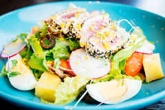 Raw and fresh tuna meat with sesame and salad Royalty Free Stock Photo