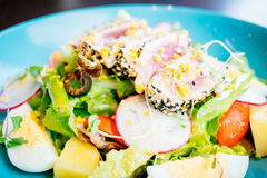 Raw and fresh tuna meat with sesame and salad Royalty Free Stock Photography