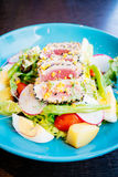 Raw and fresh tuna meat with sesame and salad Royalty Free Stock Images