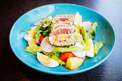 Raw and fresh tuna meat with sesame and salad Royalty Free Stock Image