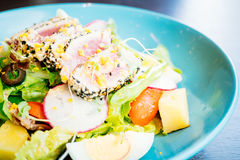 Raw and fresh tuna meat with sesame and salad Stock Photos