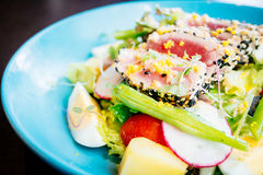 Raw and fresh tuna meat with sesame and salad Stock Image