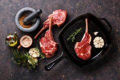 Raw fresh Veal ribs with ingredients on pan Stock Photo