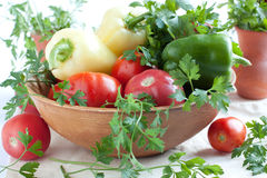Raw fresh vegetables in a large bowl Stock Image