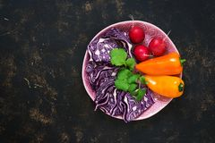 Raw fresh vegetables, red cabbage, radish, sweet yellow pepper, coriander on a dark background. Top view, copy space. Stock Photo