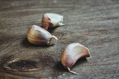 Raw garlic aloves on the cutting board Royalty Free Stock Photo