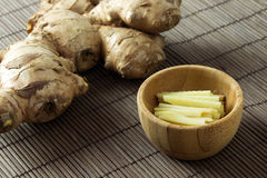Raw ginger root Stock Images