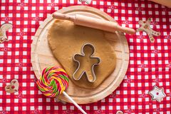 Raw gingerbread cookie dough for Christmas Royalty Free Stock Images