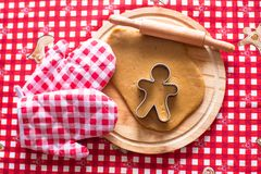 Raw gingerbread cookie dough for Christmas Stock Image