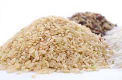 Raw gluten-free rice cereal ingredient. Stock Photo