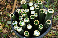Raw Glutinous rice roasted bamboo joints Stock Photo