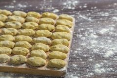 Uncooked gnocchi in flour on a cutting Board, cooked at home royalty free stock photo