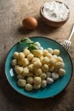 Raw gnocchi, typical Italian made of potato, flour and egg dish. Perfect meal to accompany with a sauce Royalty Free Stock Photos