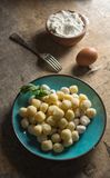 Raw gnocchi, typical Italian made of potato, flour and egg dish. Perfect meal to accompany with a sauce Stock Images