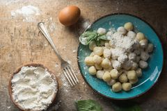 Raw gnocchi, typical Italian made of potato, flour and egg dish. Perfect meal to accompany with a sauce Royalty Free Stock Photography