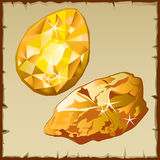 Raw gold and faceted gemstone, two icons Stock Photography