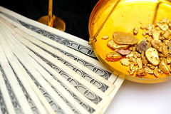 Raw Gold And Money royalty free stock image