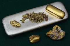 Raw Gold and Silver Bullion Stock Image