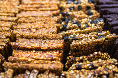 Raw gozinaki. Raw healthy dessert handmade from dates and nuts - gozinaki Stock Photo