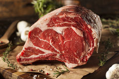 Raw Grass Fed Prime Rib Meat. With Herbs and Spices royalty free stock images