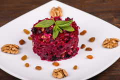Raw grated beet on a plate Royalty Free Stock Image