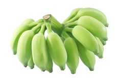 Raw Green Banana Fruits on A White Background Royalty Free Stock Images