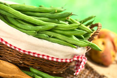 Raw Green Beans. Fresh raw green beans in basket (Selective Focus, Focus on the beans in the front in the basket Stock Photography