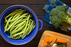 Raw Green Beans in Strainer Stock Photo
