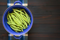 Raw Green Beans in Strainer Royalty Free Stock Photography