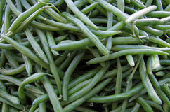 Raw green beans. Tangled pile pattern Stock Photos