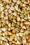 Raw green buckwheat background, organic vegan food. Texture royalty free stock photography