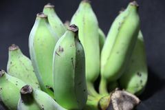 Raw and green cultivated banana put on the black floor. it is a long curved fruit that grows in clusters. Raw and green cultivated banana put on the black floor Stock Images