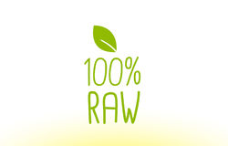 100% raw green leaf text concept logo icon design. 100% raw green leaf text concept logo vector creative company icon design template modern background hand Royalty Free Illustration