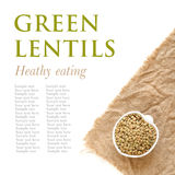 Raw green lentils a in a bowl Stock Photo