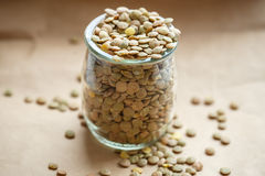 Raw green lentils in a glass jar Royalty Free Stock Images