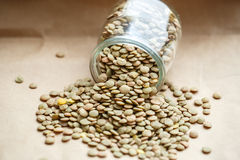 Raw green lentils in a glass jar Royalty Free Stock Photo
