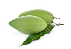 Raw green mango with leaf on white. Background Royalty Free Stock Photo
