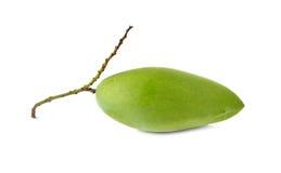 Raw green mango with stem on white Stock Photos