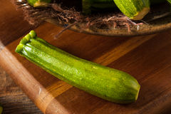 Raw Green Organic Baby Zucchini Royalty Free Stock Photography