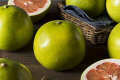 Raw Green Organic Citrus Pummelo Fruit. Ready to Eat Stock Photography