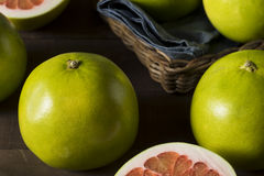 Raw Green Organic Citrus Pummelo Fruit. Ready to Eat Royalty Free Stock Image