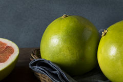 Raw Green Organic Citrus Pummelo Fruit. Ready to Eat Stock Image
