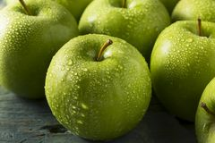 Raw Green Organic Granny Smith Apples. Ready to Eat royalty free stock image