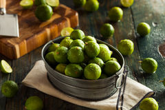 Raw Green Organic Key Limes Stock Images
